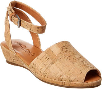 Gentle Souls Lily Ankle Wrap Cork Wedge Sandal