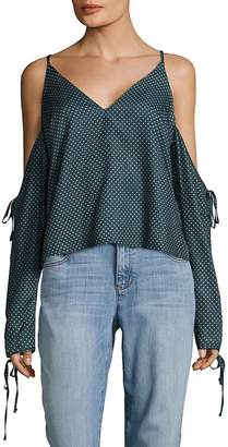 MinkPink Women's Polka-Dot Print Cold-Shoulder Blouse