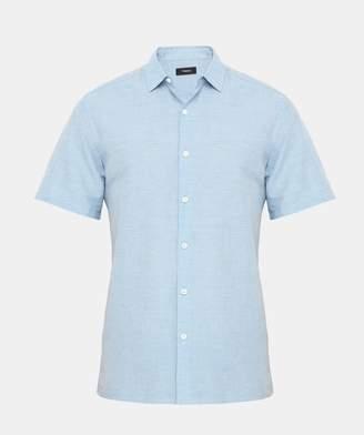 Theory Cotton Linen Short-Sleeve Shirt