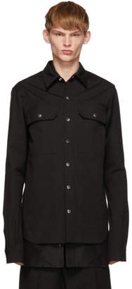 Rick Owens Black Twill Overshirt