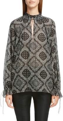 Saint Laurent Bandana Print Tie Detail Blouse