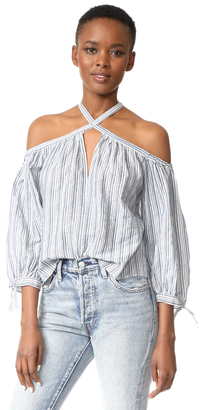 Rebecca Taylor Off Shoulder Stripe Top $250 thestylecure.com