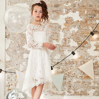 River Island Girls White lace flower girl dress