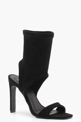 boohoo Square Toe Sock Heels