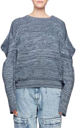 Stella McCartney Puffy-Shoulder Long-Sleeve Marled Yarn Sweater