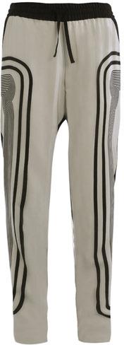 Ohne Titel Stripe side print silk trousers