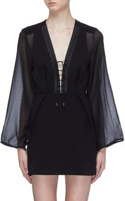 Dion Lee Panelled lace-up front crepe dress