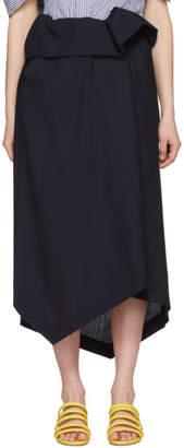 Enfold Navy Wool Asymmetric Skirt