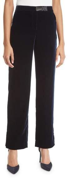 Slit Cuff Wide-Leg Velvet Pants
