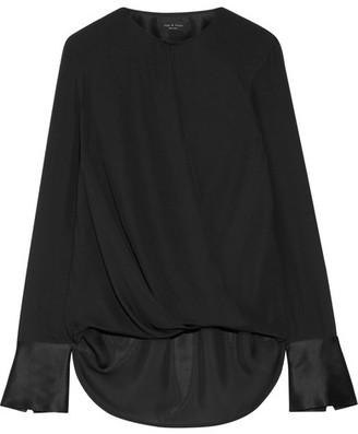 rag & bone - Max Wrap-effect Satin-trimmed Silk Crepe De Chine Blouse - Black $350 thestylecure.com