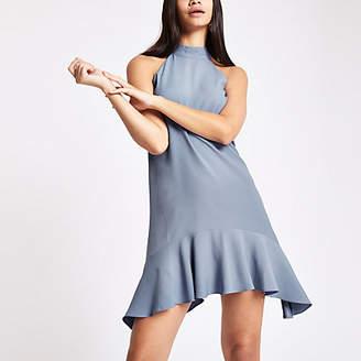 River Island Womens Light blue halter neck swing dress