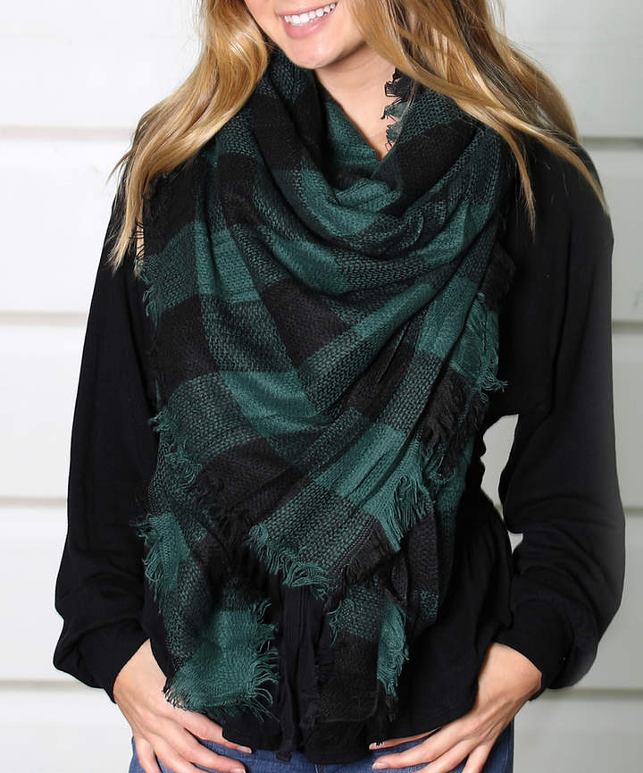 Black & Green Buffalo Check Blanket Scarf