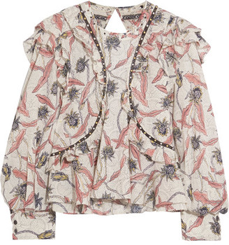 Isabel Marant - Uster Studded Lace-trimmed Printed Cotton Blouse - Ecru $640 thestylecure.com