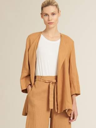 Donna Karan Donnakaran Linen Drape Lapel Jacket Desert M