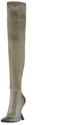 TOM FORD Sculptural-Heel Over-the-Knee Boot, Gray $2,790 thestylecure.com