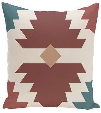 E By Design 16 Inch Rust and Blue Decorative Geometric Throw Pillow