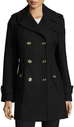 MICHAEL Michael Kors Double-Breasted Wool-Blend Coat, Navy $180 thestylecure.com