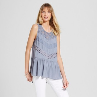 Knox Rose Women's Mixed Fabric Sleeveless Peplum Tank $22.99 thestylecure.com