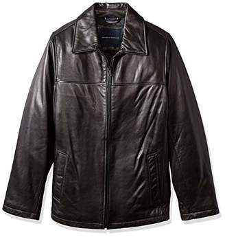 Tommy Hilfiger Men's Big and Tall Open Bottom Classic Leather Jacket
