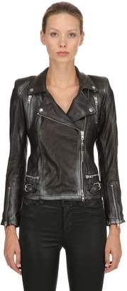 Distressed Leather Biker Jacket