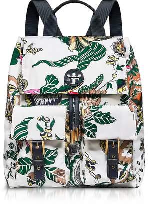 Tory Burch Tilda Ivory Happy Times Printed Nylon Flap Backpack