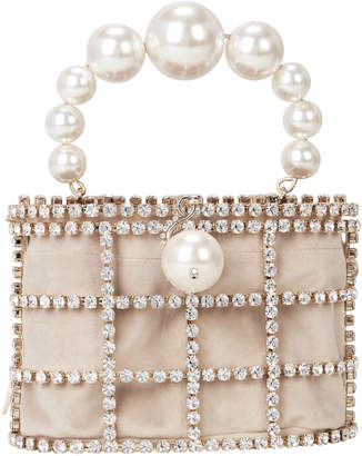 Rosantica Cage Me Pearl and Crystal Clutch