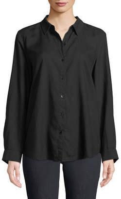 Eileen Fisher Crosshatch Classic Button-Front Shirt
