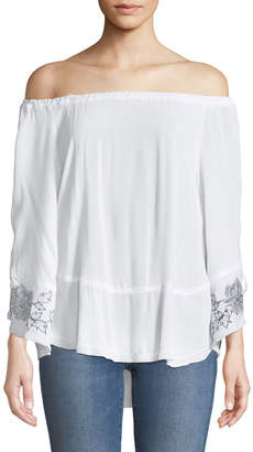XCVI Off-the-Shoulder Lace-Up Sleeve Blouse