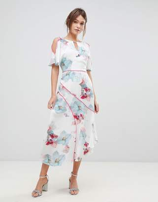Coast La Hune Asymmetric Hem Floral Print Dress
