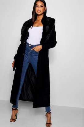 boohoo Stephanie Maxi Faux Fur Collar Wool Coat