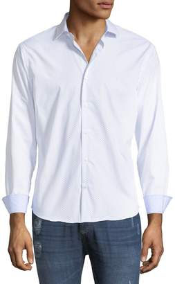 Neiman Marcus Slim-Fit Regular-Finish Wear-It-Out Micro-Dot Sport Shirt
