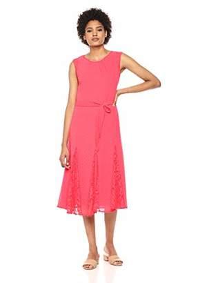 Taylor Dresses Women's Cap Sleeve sash tie midi Dress