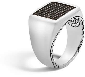 John Hardy Men's Classic Chain Signet & Black Rhodium Ring, Size 10