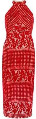 River Island Womens Red lace high neck midi bodycon dress