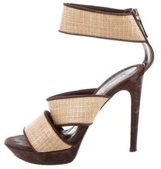 Fendi Straw-Accented Suede Sandals