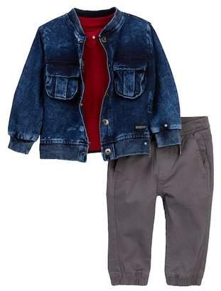 Hudson Knit Jacket, Heathered Jersey Tee, & Pants Set (Baby Boys)