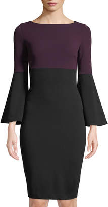 Iconic American Designer Colorblocked Bell-Sleeve Bodycon Dress