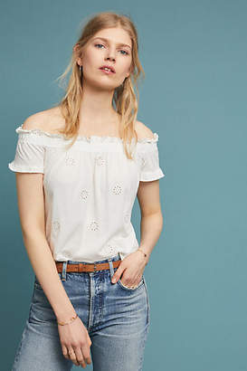 Three Dots Eyelet Off-The-Shoulder Top