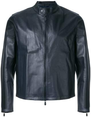 Eleventy fitted leather jacket