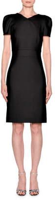 Giorgio Armani Short-Sleeve Wool Crepe V-Neck Dress, Black