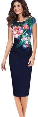 IEason Women Sleeveless Round Neck Printing Sheath Office Lady Formal Business Dress (XL, )