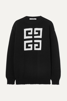 Givenchy Distressed Intarsia Cotton Sweater - Black