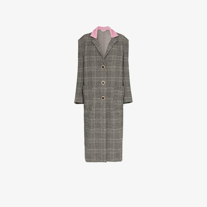 check print knee length coat