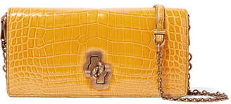 Bottega Veneta The Knot Crocodile Shoulder Bag - Saffron