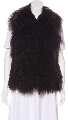 Aqua Mongolian Fur Vest
