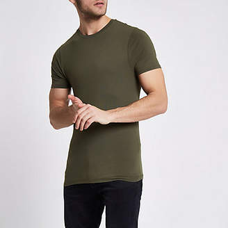 River Island Khaki muscle fit crew neck T-shirt