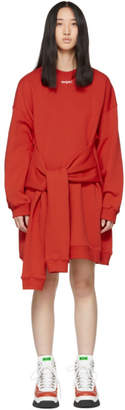 MSGM Red Mini Logo Sweatshirt Dress
