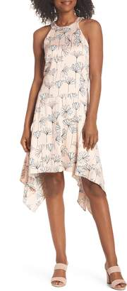 Maggy London Printed Handkerchief Hem Dress
