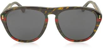 Gucci Gg0128s 003 Havana And Red/green Acetate Aviator Men's Sunglasses