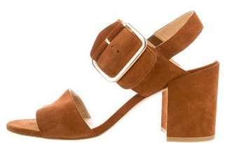 Stuart Weitzman Leather Mid-Heel Sandals